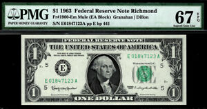 1963-1900-Em-1-Richmond-Mule-Federal-Reserve-Note-FRN-PMG-67-EPQ