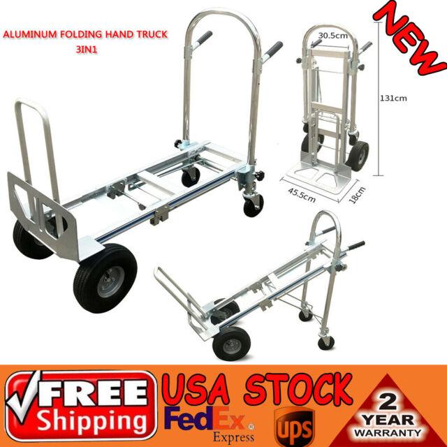 f3fa14eece56 3 in 1 Aluminum Hand Truck Dolly Cart Foldable 2 or 4 Wheel 770lbs Heavy  Duty