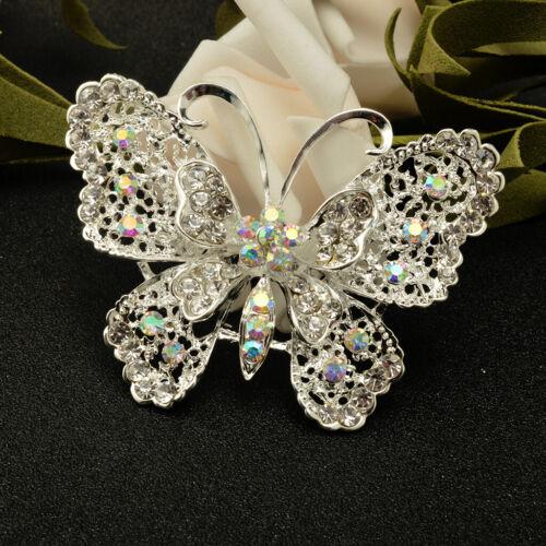 Vintage gros strass papillon broche pin Lady robe de mariage Broche