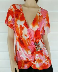 Kamiko-Top-Size-14-Short-Sleeves-Wrap-Blouse-Stretch-Orange-Pink-Abstract-Beads