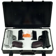 Double Eagle P618SB Twin Spring Dual Pistol 6mm Hand Gun With Case Black/silver