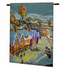 Christmas Houses Fibre Optic Light up Tapestry Battery Operated