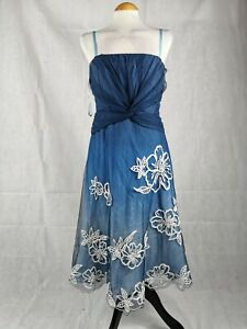 Ladies-Dress-Size-12-COAST-Blue-Net-White-Fit-And-Flare-Party-Evening-Wedding