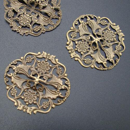 20 Filigree vintage ornament latón bronce color conector filigrana-p00942x2