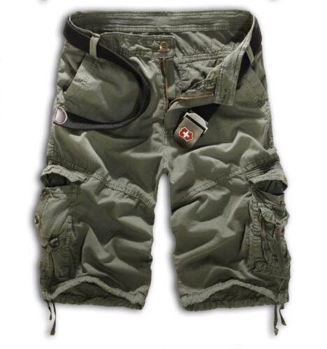 Herren Tarnhose Shorts Bermuda Capri Kurz Hose Combat Sports Chino Cargohose DE