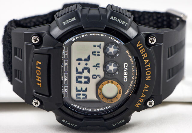 Casio W-735HB-1A Black Vibration Watch Fabric Band Illuminator 100M WR New 10 yr