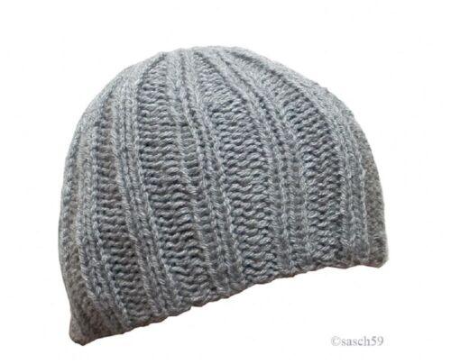 Mütze Strickmütze Beanie Wollmütze Cap hellgrau Damen Wintermütze Skimütze D10!!