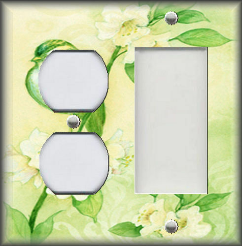 Metal Light Switch Plate Cover Song Bird With Flowers Shabby Chic Decor Green
