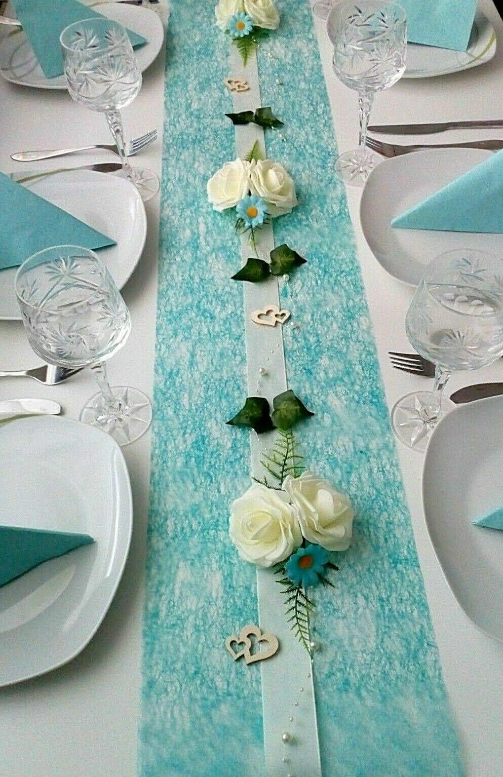KOMPLETT Tischdeko 20 Personen Dekoration Tischdekoration Hochzeit Taufe türkis