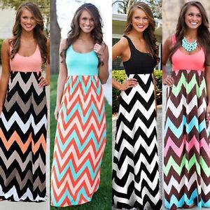 4b1d070ef18 Image is loading New-Womens-Boho-Striped-Maxi-Dress-Sleeveless-Summer-