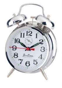 Acctim Keywound Saxon Silver Réveil Lumineux Manuel Style Ancien Traditionnel-afficher Le Titre D'origine Moins Cher
