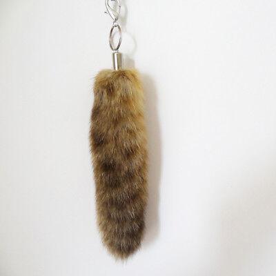 2pcs Natural Raccoon Tail Fur Keychain Tassel Bag Tag Charm Handbag Gift