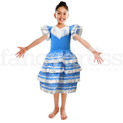 Girls Spanish Dress Flamenco White Blue Fancy Dress Costume Book World Day NEW