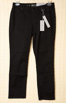 NWT Stretch JENNIFER LOPEZ Petite Jeans Black Straight Pants JLO Mid Rise 10 12