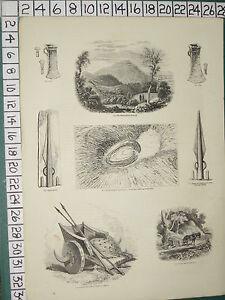 1845-PRINT-HEREFORDSHIRE-BEACON-CELT-BRITISH-CAMP-CAER-CARADOC-SPEAR-MOLD