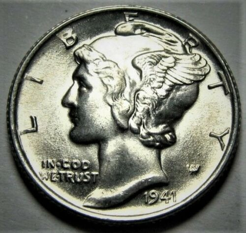 1941 D Mercury Dime Brilliant Uncirculated 90/% Silver Gem BU FB