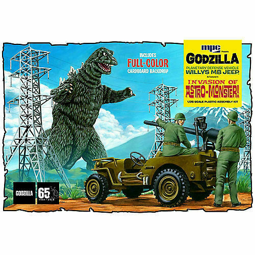Godzilla Army Jeep and crew by MPC mint in sealed box