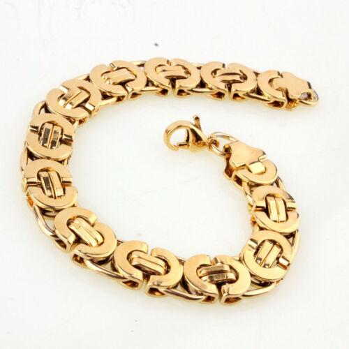 "7/""-11/"" 18K Gold braclets/&bangle for Cool Men Stainless Steel Byzantine Bracelet"