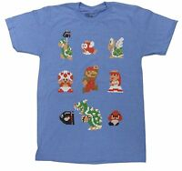 Official Nintendo Super Mario Bros Mens T-shirt 8 Bit Pixel Bowser Goomba -funny