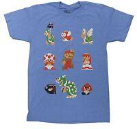 Official Nintendo Super Mario Bros Mens T-shirt 8 Bit Pixel Bowser Goomba -funny