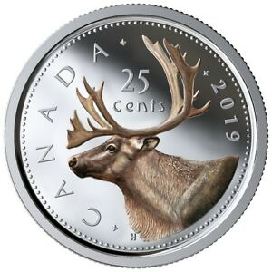 CANADA-2019-25-CENTS-99-99-PROOF-SILVER-COLOURED-QUARTER-HEAVY-CAMEO-COIN