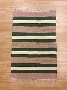 Image Is Loading Ethnic Pink Cream Green Striped Handloomed 100 Cotton