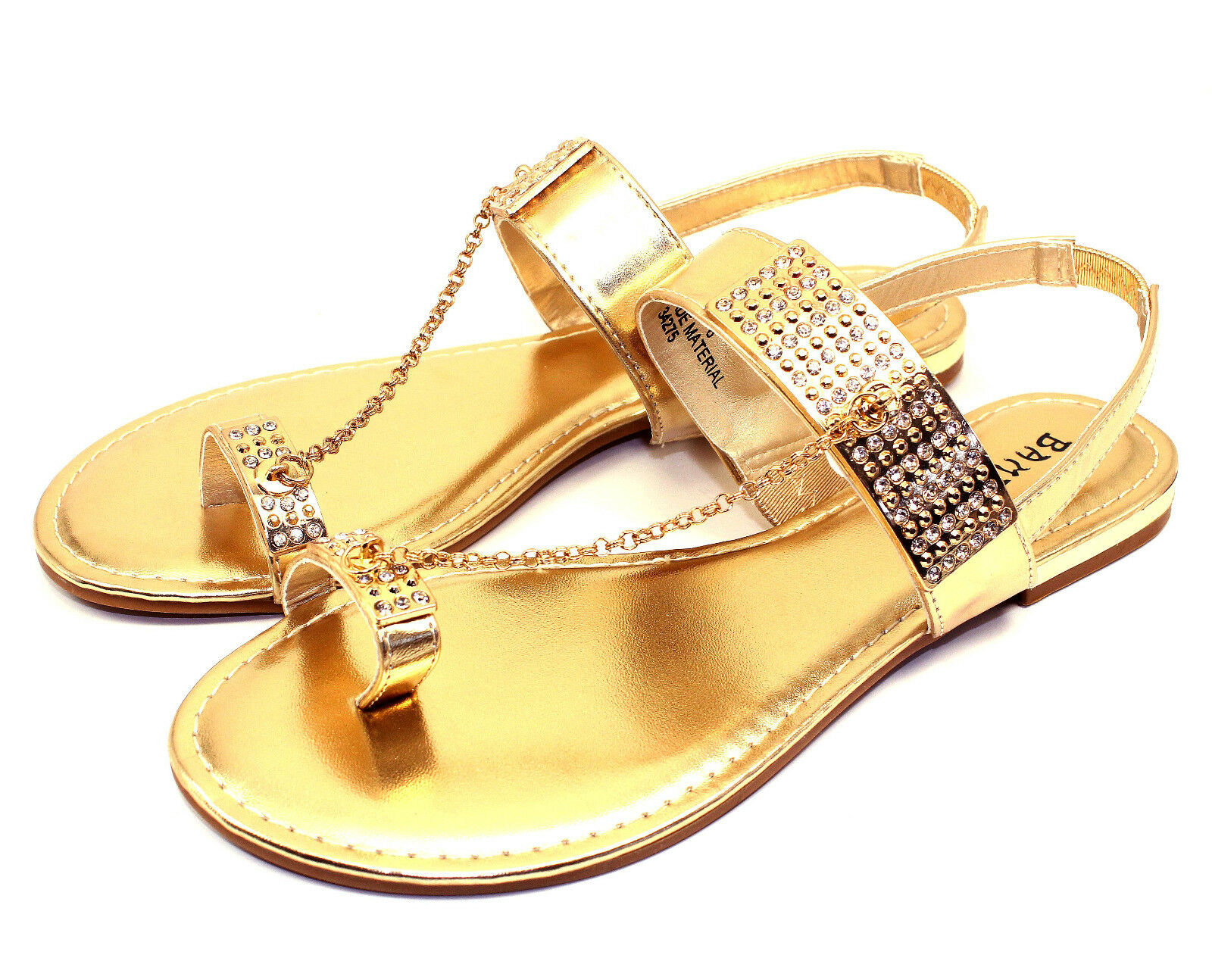 Ambra-77 Blink Blink Ambra-77 Chain Stone Flats Sandals Gladiator Party Women Shoes Gold 7.5 7591cf