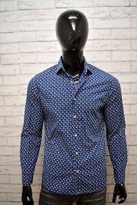 Camicia-Blu-Uomo-MANGO-Slim-Taglia-M-Maglia-Manica-Lunga-Shirt-Man-Hemd
