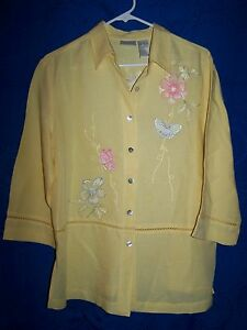 Womens-CLC-Yellow-Button-Down-Shirt-w-Embroidered-Flowers-Butterflies-Size-M