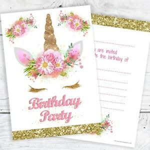 unicorn girls birthday party invitations ready to write with