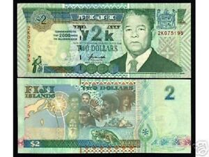 FIJI 2 DOLLARS 2000 P 102 Y2K COMMEMORATIVE UNC BUY 5 GET ONE FREE