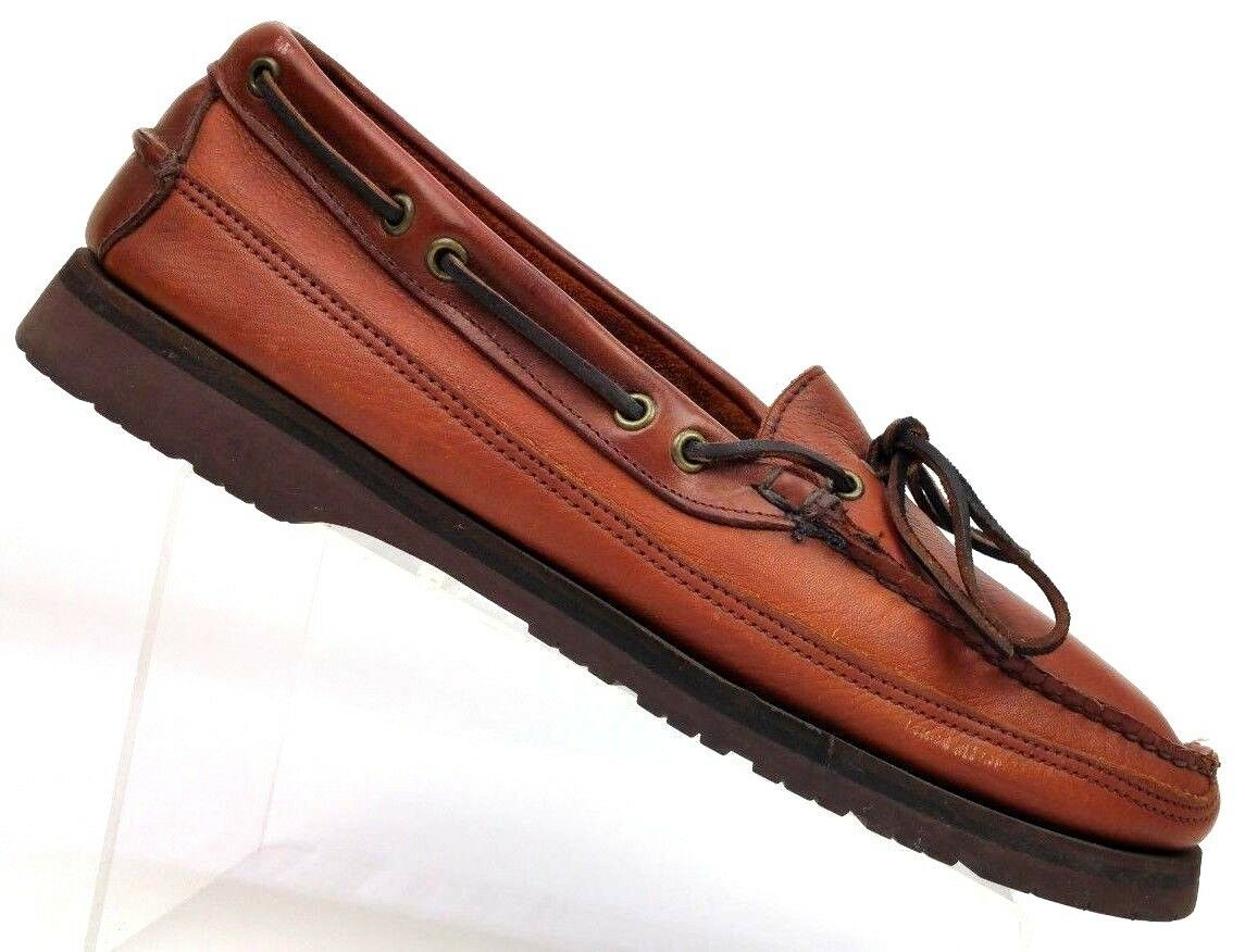 E. T. Wright Loafers Brown Leather Moc Toe Boat shoes Vibram Men's 14 S