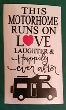 This caravan runs on love laughter Vinyl Decal for Wine Bottle Sticker only.