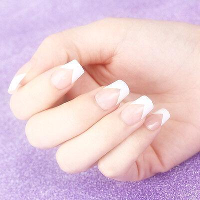Set 24pcs 10 Sizes French Acrylic False Artificial Nail Art Tips Manicure New