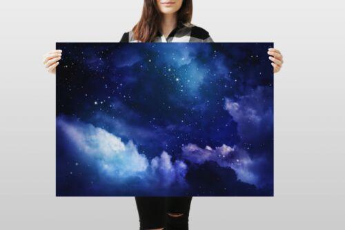 A1Blue Night Sky Poster Art Print 60 x 90cm 180gsm Stars Space Fun Gift #8745