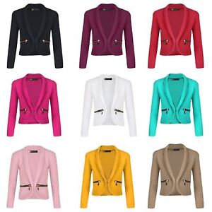Girls-Long-Sleeve-Open-Front-Zip-Pocket-Jacket-Kids-Blazer-Cardigan-Top-3-14-Y
