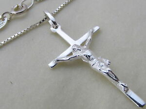 Genuine 925 sterling silver crucifix cross pendant necklace image is loading genuine 925 sterling silver crucifix cross pendant necklace aloadofball Image collections