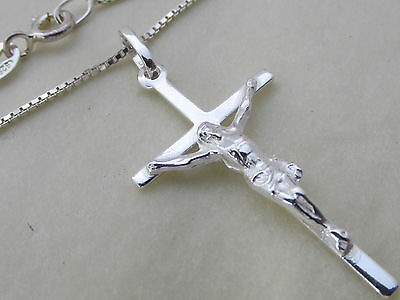 Genuine 925 Sterling Silver Crucifix / Cross Pendant / Necklace Mens / Ladies Gute QualitäT