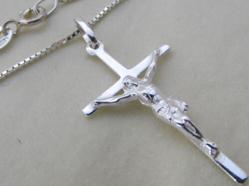 Cross Pendant Genuine 925 Sterling Silver Crucifix Ladies Necklace Mens