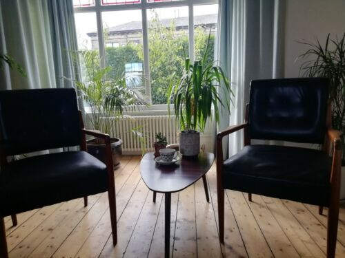 3 Vintage Mid Century Style / Danish Style Chairs Side Wood, Black leather