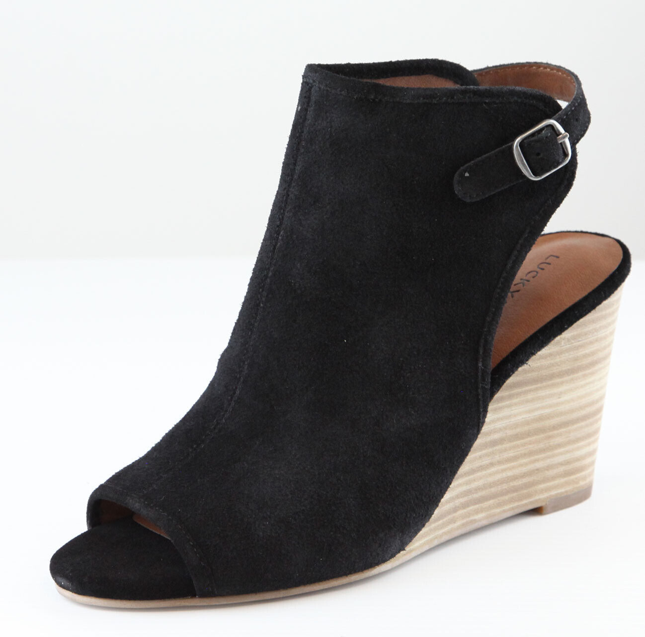 Lucky Brand Womens Black Risza Suede Leather Ankle Sandals Shoes Ret $120 New
