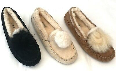 d9e8afa29f Ugg Dakota Pom Pom Water-Resistant Silkee Suede Women s Soft Wool Slippers