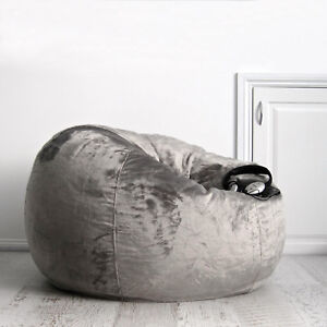 Brilliant Details About Fur Beanbag Charcoal Velvet Bean Bag Cover Grey Cloud Chair For Lounge Rumpus Evergreenethics Interior Chair Design Evergreenethicsorg