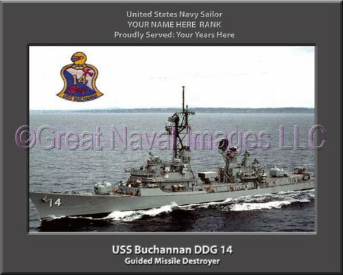 USS Buchanan DDG 14 Personalized Canvas Ship Photo Print Navy Veteran Gift