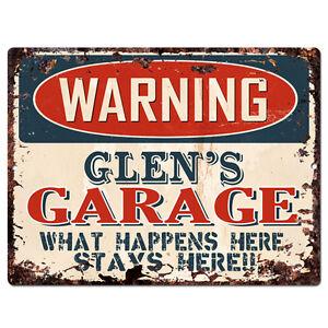 PPFG0188-WARNING-GLEN-039-S-GARAGE-Tin-Chic-Sign-Home-man-cave-Decor-Funny-Gift