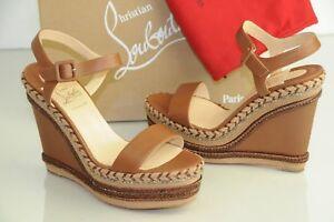 Details about NEW CHRISTIAN LOUBOUTIN Duplice 120 Cognac Espadrille Wedge Sandals Shoes 41