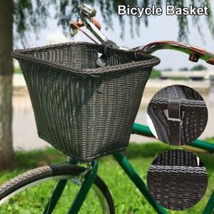 Rattan Wicker Bike Basket Bicycle Front Handlebar Natural Weaving PU Straps
