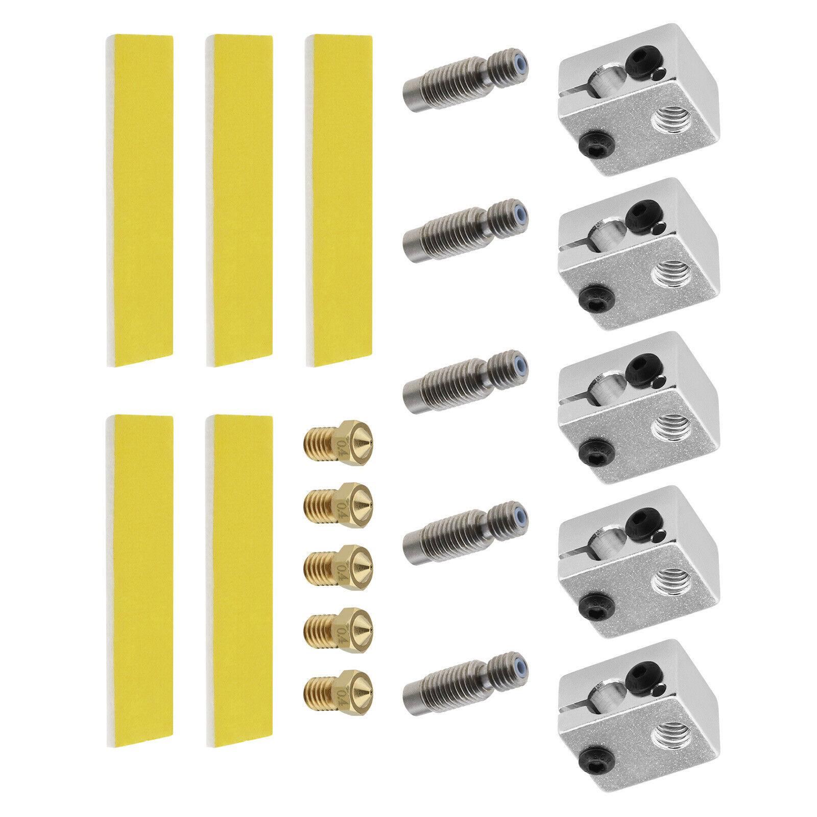 5 Sets 3D Printer Extruder 1.75mm Throat Tube Heater Block 0.4mm Brass Nozzles