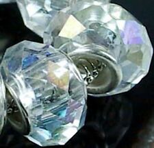 Faceted Crystal Glass Big Hole Fit Charm Bracelet Beads (8)