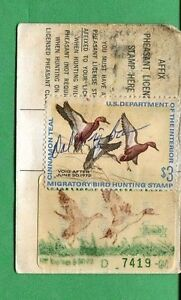Details about CALIFORNIA DUCK STAMP RW38 + CA #1 (used) On 1971 Hunting/  Fishing License - 04